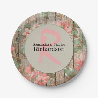 Rustic Spring Blooms Wedding Paper Plate
