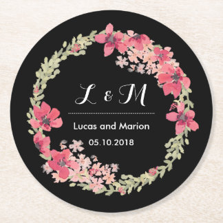 Rustic Spring Floral Wreath Monogram Wedding Party Round Paper Coaster