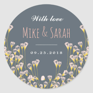 Rustic Spring Flower Garden Wedding Favor Sticker