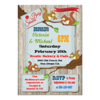 Rustic Squirrels Twins Baby Shower Invitations