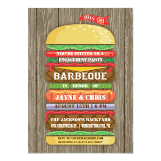 Rustic Stacked Hamburger Engagement Party BBQ 2 11 Cm X 16 Cm Invitation Card