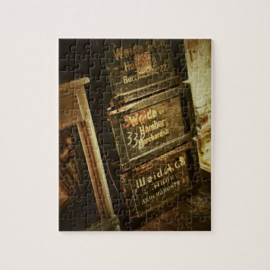 Rustic Stacked Wooden Boxes Crates Faded Jigsaw Puzzle