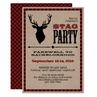 Rustic Stag Bachelor Party Card