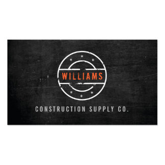 Rustic Stamped Logo on Black Wood Construction Business Card Template