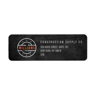Rustic Stamped Logo on Black Wood Construction Return Address Label