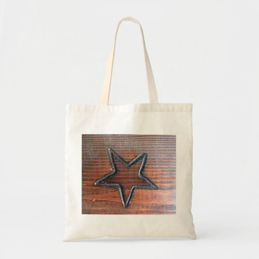Rustic Star Burned into Wood Table Pyrography Canvas Bags