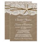 Rustic Starfish Beach Bridal Shower Invitations