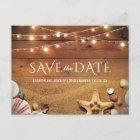 Rustic Starfish Beach Tropical Save the Date Announcement Postcard