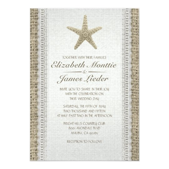 Rustic Starfish Beach Wedding Invitations