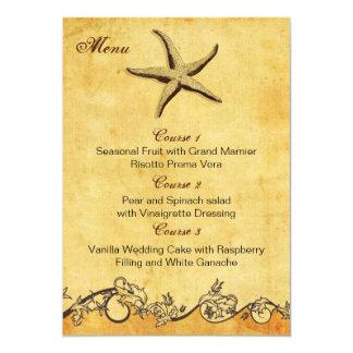 rustic starfish beach wedding menu cards 13 cm x 18 cm invitation card
