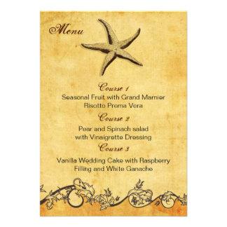 rustic starfish beach wedding menu cards