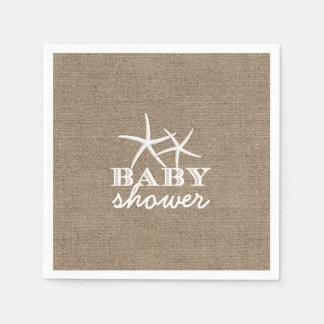 Rustic Starfish Burlap Baby Shower Paper Napkin