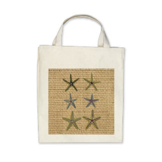 rustic starfish design on burlap background bags