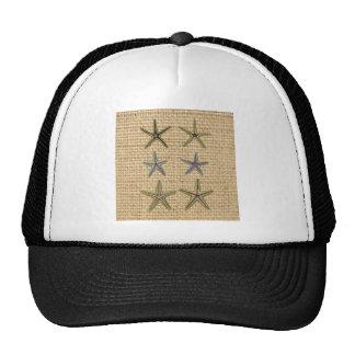 rustic starfish design on burlap background cap