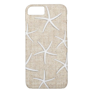 Rustic Starfishes Burlap Background iPhone 7 Case
