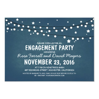 Rustic Starry Night Lights ENGAGEMENT PARTY 13 Cm X 18 Cm Invitation Card
