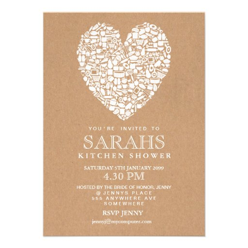 Rustic Stock the Kitchen Bridal Shower Party Personalized Announcements