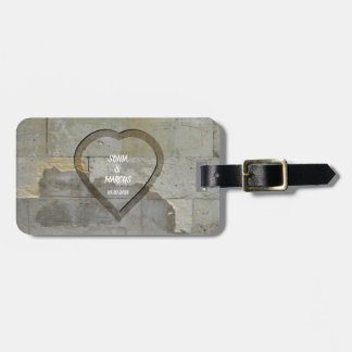 Rustic Stone Wall Heart Wedding Date Luggage Tag