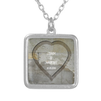 Rustic Stone Wall Heart Wedding Date Silver Plated Necklace