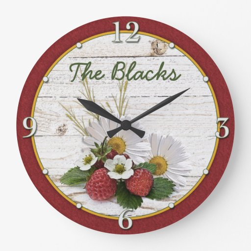 Rustic Strawberry Daisy Floral Personalized Clocks