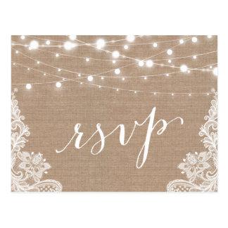 Rustic String Lights Burlap Lace Wedding RSVP Postcard