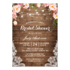 Rustic String Lights Lace Floral Bridal Shower Card