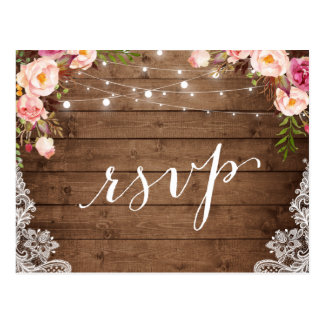 Rustic String Lights Lace Floral Farm Wedding RSVP Postcard