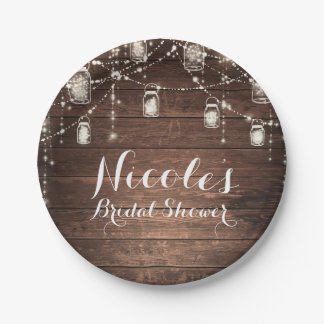 Rustic String Lights Mason Jars Lace Country Glam Paper Plate