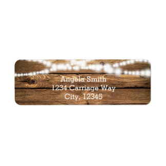 Rustic String Lights on Wood Wedding Address Label