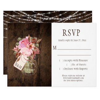 Rustic String Lights Pink Mason Jars RSVP Card
