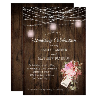 Rustic String Lights Pink Mason Jars Wedding Card