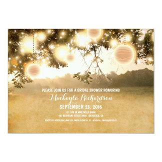 "Rustic String Lights Romantic Bridal Shower Invite 5"" X 7"" Invitation Card"