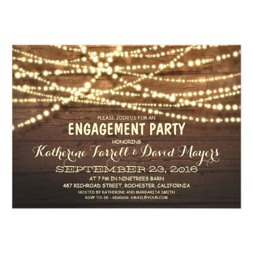Rustic String Lights Romantic Engagement Party Announcements