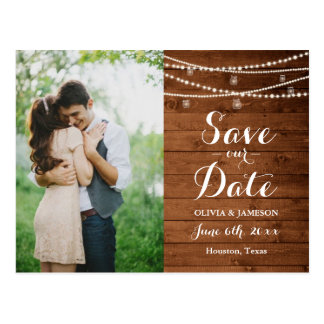 Rustic String Lights Save the Date Postcard