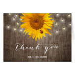 Rustic String Lights & Sunflower Wedding Thank You Note Card