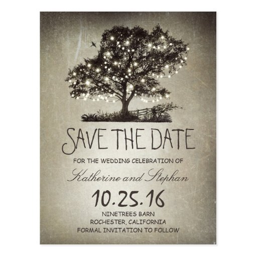 Rustic string lights tree vintage save the date post card