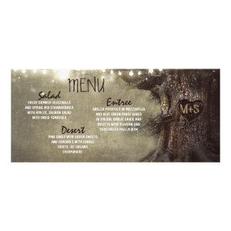Rustic string lights tree wedding menu cards customized rack card