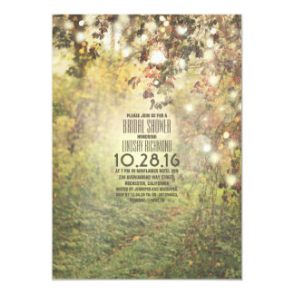 Rustic string lights trees path bridal shower 13 cm x 18 cm invitation card
