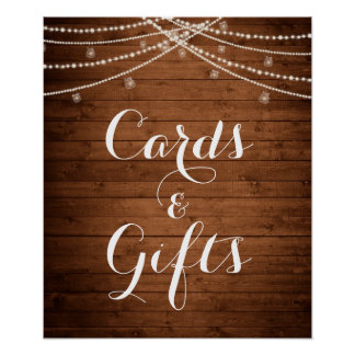 Rustic String Lights Wedding Cards & Gifts Poster