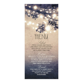 Rustic string lights wedding menu cards