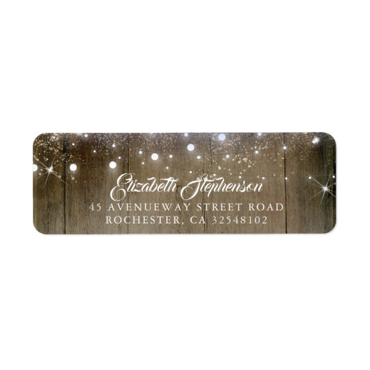 Rustic String Lights Wedding Return Address Label