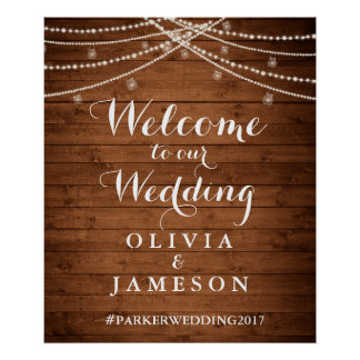 Rustic String Lights Welcome Poster