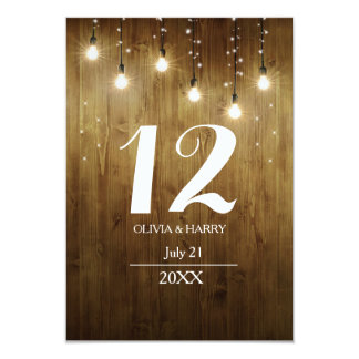 Rustic String Of Lights Country Table Number Card