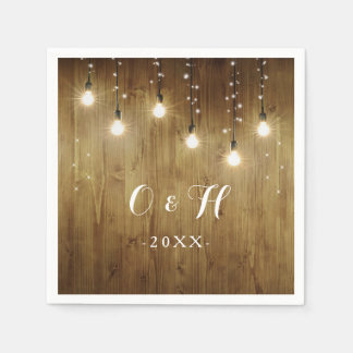 Rustic String Of Lights Country Wedding Napkins Disposable Serviette