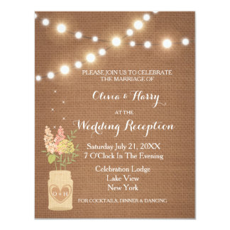 Rustic String Of Lights & Flowers Reception Invite
