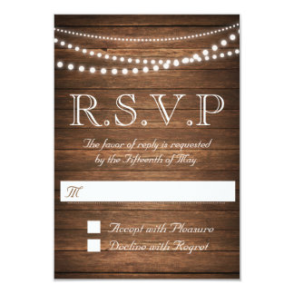"Rustic String of Lights RSVP 3.5"" x 5"" 9 Cm X 13 Cm Invitation Card"