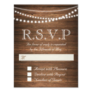 "Rustic String of Lights RSVP 4.25"" x 5.5"" Card 11 Cm X 14 Cm Invitation Card"