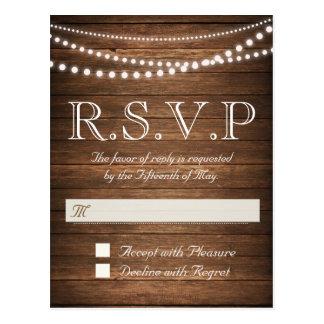 Rustic String of Lights RSVP Postcard