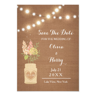 Rustic String Of Lights Save The Date Wedding Card