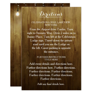 Rustic String Of Lights Wedding Directions Card